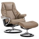 Stressless Live Small Chair & Ottoman with Signature Base - Item Number: 1318310