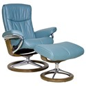 Stressless Peace Small Chair & Ottoman with Signature Base - Item Number: 1315315-Paloma Aqua Green