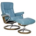 Stressless by Ekornes Stressless Peace Medium Signature Reclining Chair and Ottoman