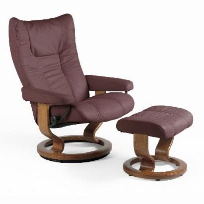 Medium Chair & Ottoman with Classic Base