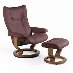 Medium Chair & Ottoman with Classic Base