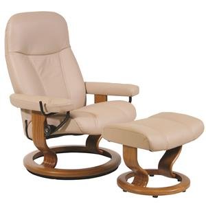 Stressless by Ekornes Consul Medium Stressless Chair and Ottoman