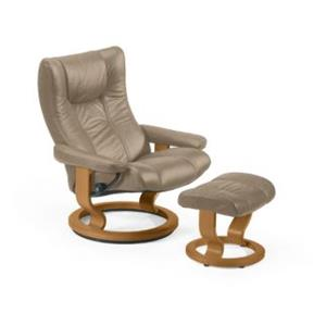 Stressless by Ekornes Wing Large Stressless Chair and Ottoman