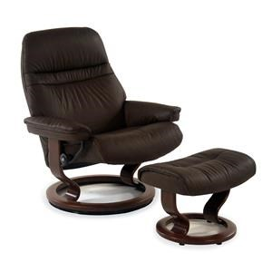 Stressless by Ekornes Stressless Recliners Large Sunrise Recliner and Ottoman