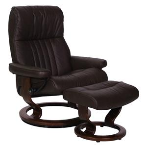 Stressless by Ekornes Crown Large Stressless Chair and Ottoman