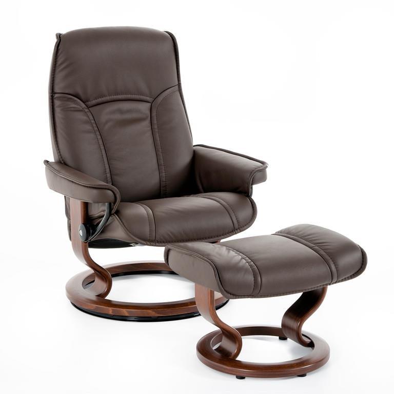 Stressless by Ekornes Stressless Senator Medium Classic Chair - Item Number: 1050415 BATICK BRN BRN