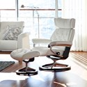 Stressless Skyline Medium Chair & Ottoman with Signature Base - Item Number: 1305310-Batick Snow