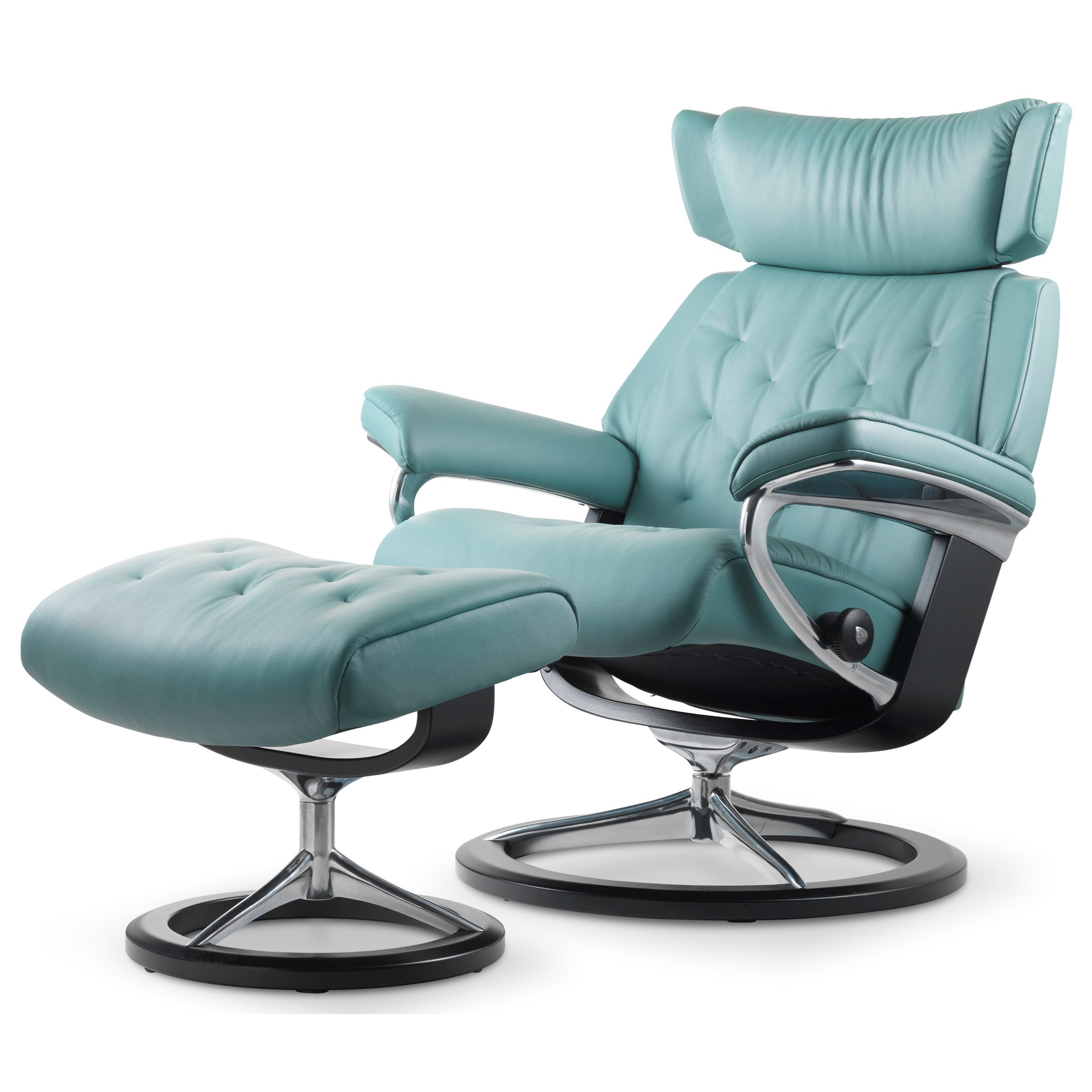 Small Chair With Ottoman: Stressless Skyline Small Reclining Chair & Ottoman With