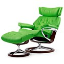 Stressless Skyline Large Chair & Ottoman with Signature Base - Item Number: 1304310-Paloma Summer Green