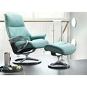 Stressless View Small Reclining Chair & Ottoman with Signature Base