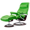 Stressless View Large Chair & Ottoman with Signature Base - Item Number: 1308310-Paloma Summer Green
