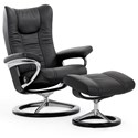 Stressless Wing Medium Chair & Ottoman with Signature Base - Item Number: 1161315-Paloma Black