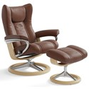 Stressless by Ekornes Stressless Wing Medium Signature Chair & Ottoman - Item Number: 1161315-Paloma Copper