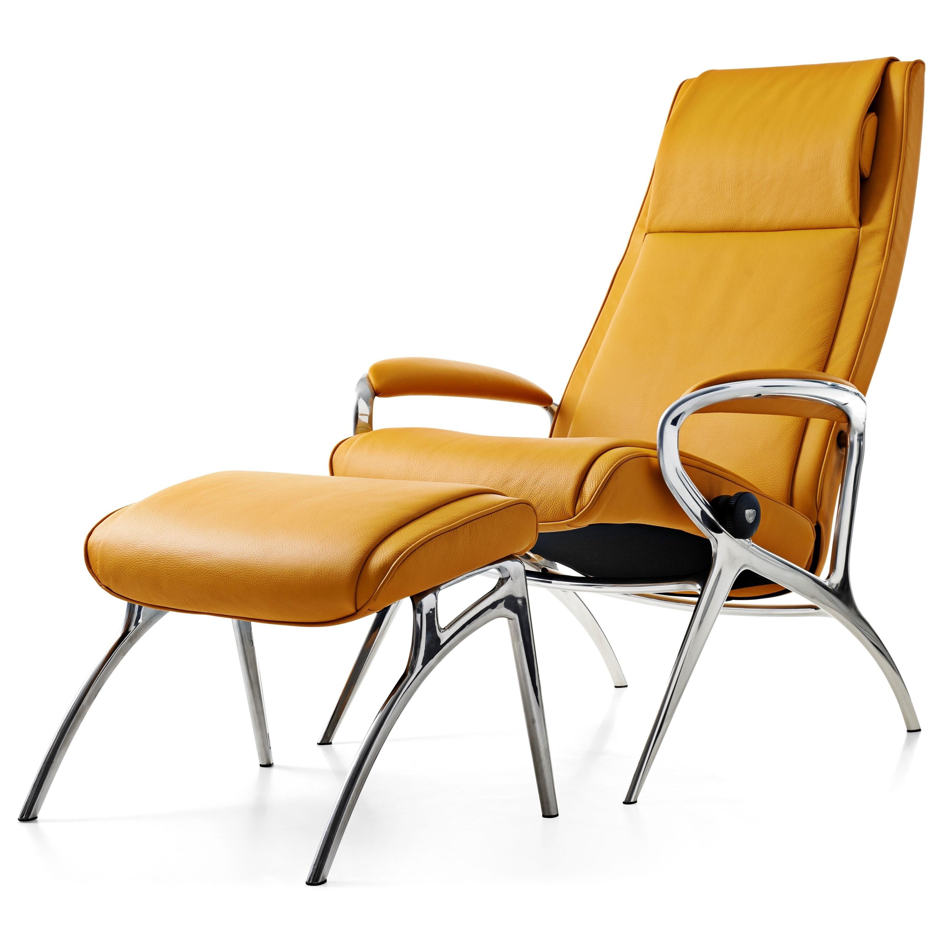 James Chair & Ottoman with Aluminum Base