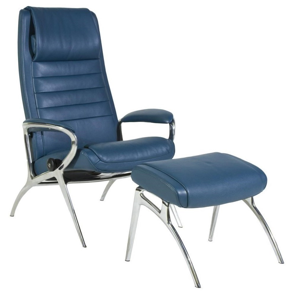 Stressless By Ekornes Stressless You John Reclining Chair And Ottoman With Aluminum Base Dunk