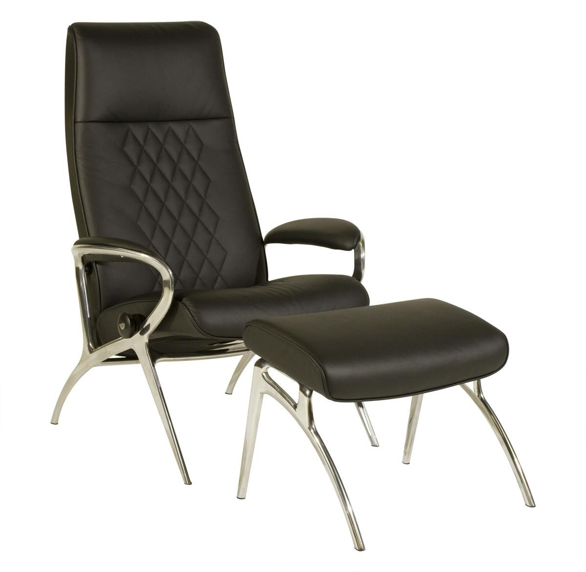 Stressless by Ekornes Stressless You Michael Reclining Chair and Ottoman - Item Number: YOU-MICHAEL-ALU-Batick Black