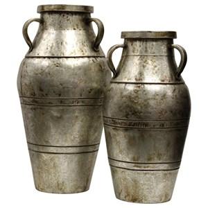 Set of Two Industrial Metal Vase