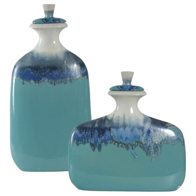 Accessories Set of Two Ceramic Jars by StyleCraft at Alison Craig Home Furnishings