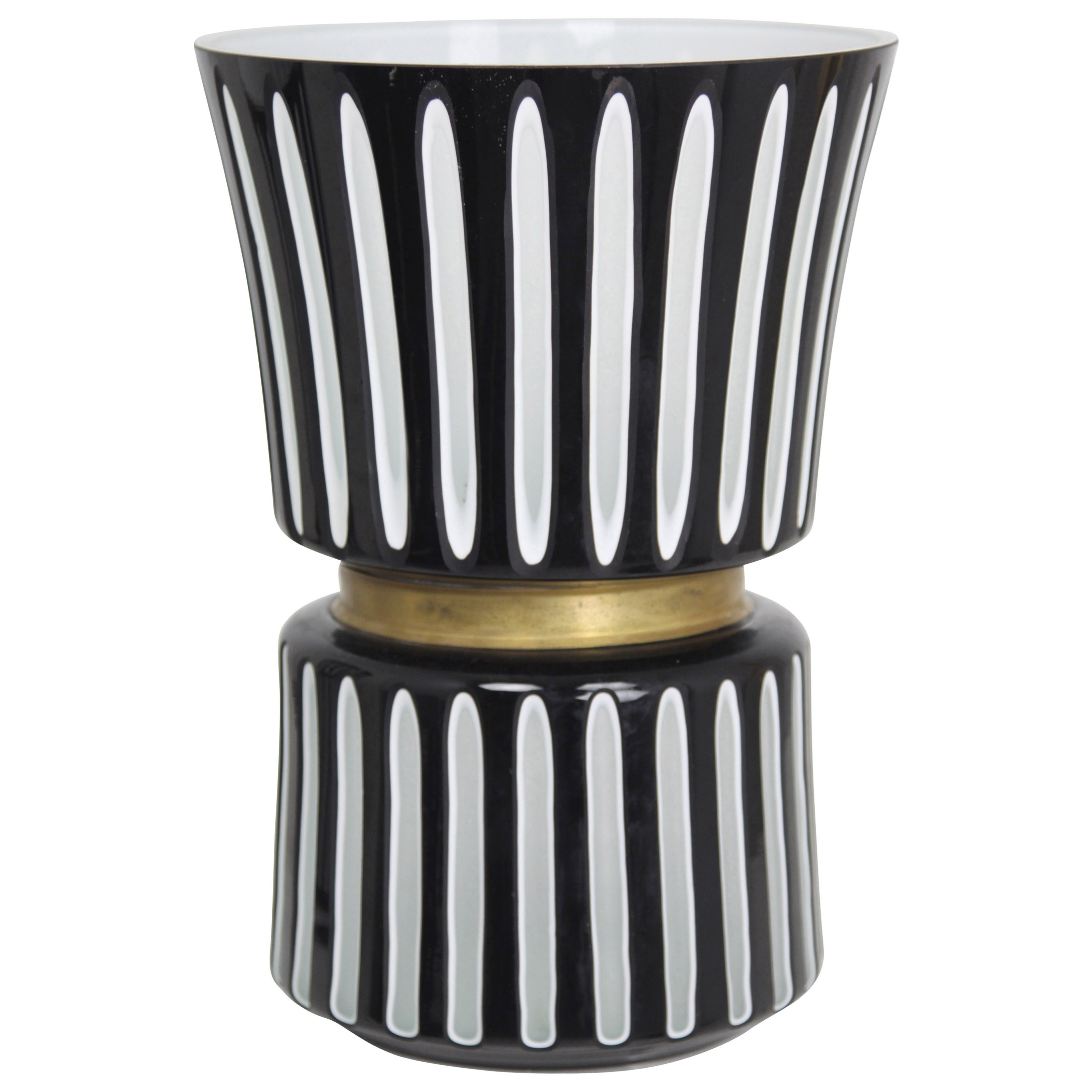 Accessories Black and White Ceramic Vase by StyleCraft at Alison Craig Home Furnishings