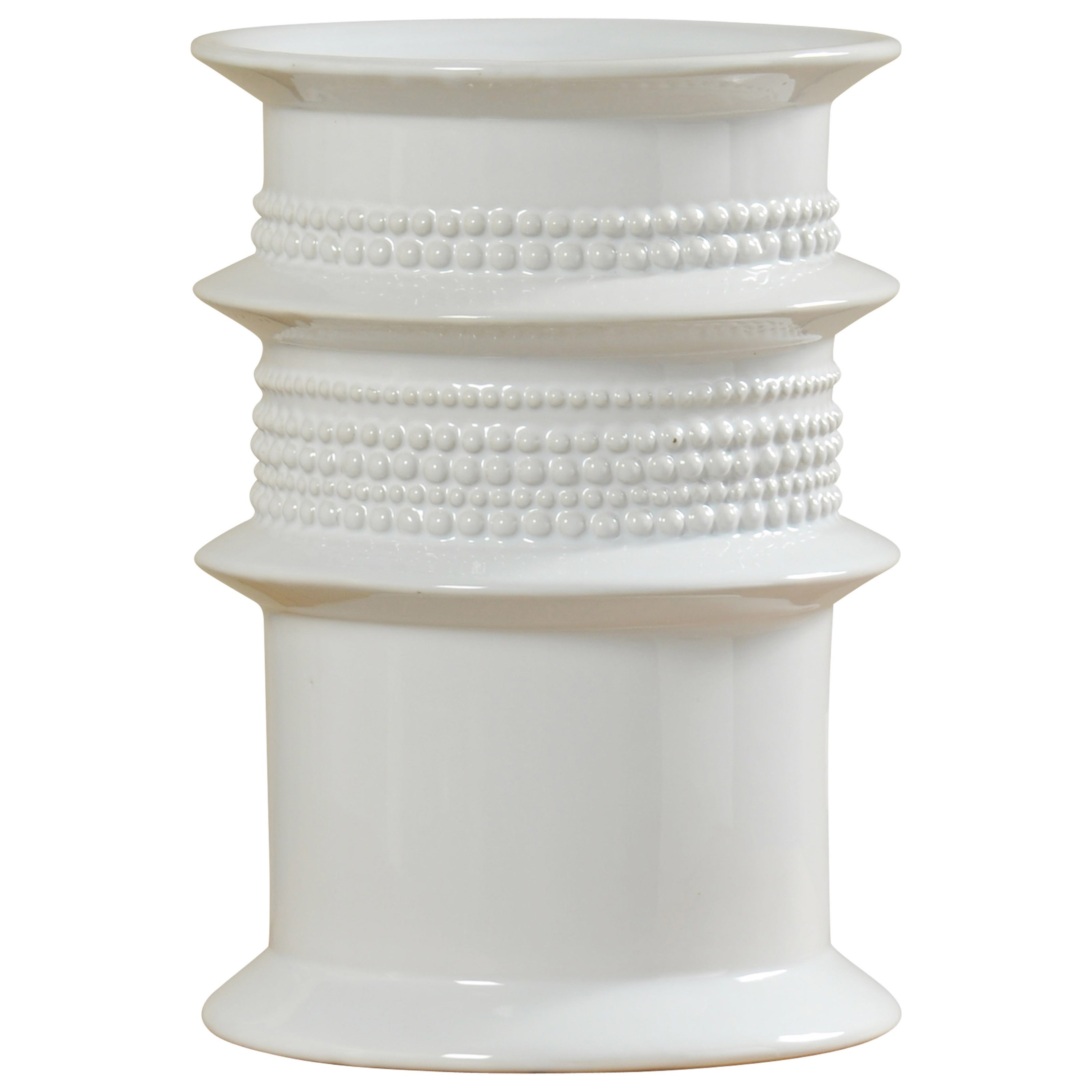 Accessories White Ceramic Vase by StyleCraft at Alison Craig Home Furnishings