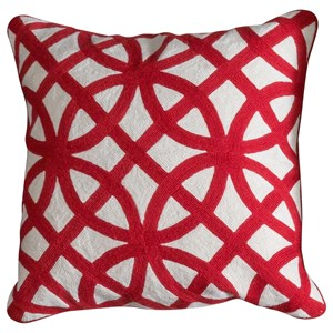 Red and White Accent Pillow
