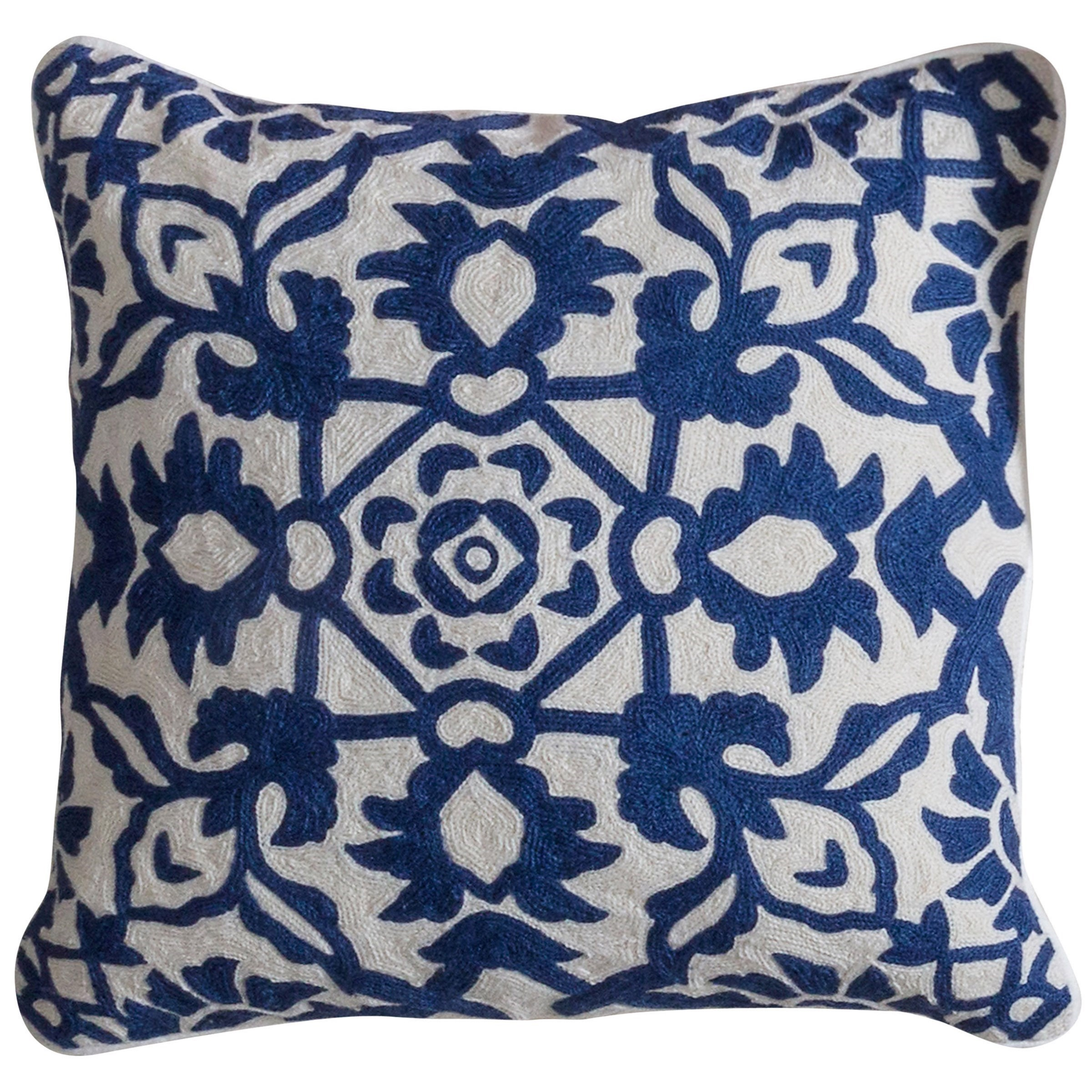 Accessories Blue and White Accent Pillow by StyleCraft at Alison Craig Home Furnishings