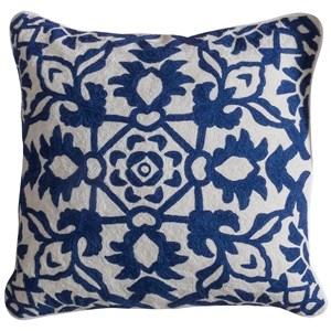 Blue and White Accent Pillow