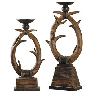 Set of Two Antler Candle Holders