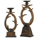 StyleCraft Accessories Set of Two Antler Candle Holders - Item Number: MO321081