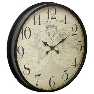 Black Wall Clock With Map Face