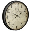 StyleCraft Clocks Black Wall Clock With Map Face - Item Number: WC2113