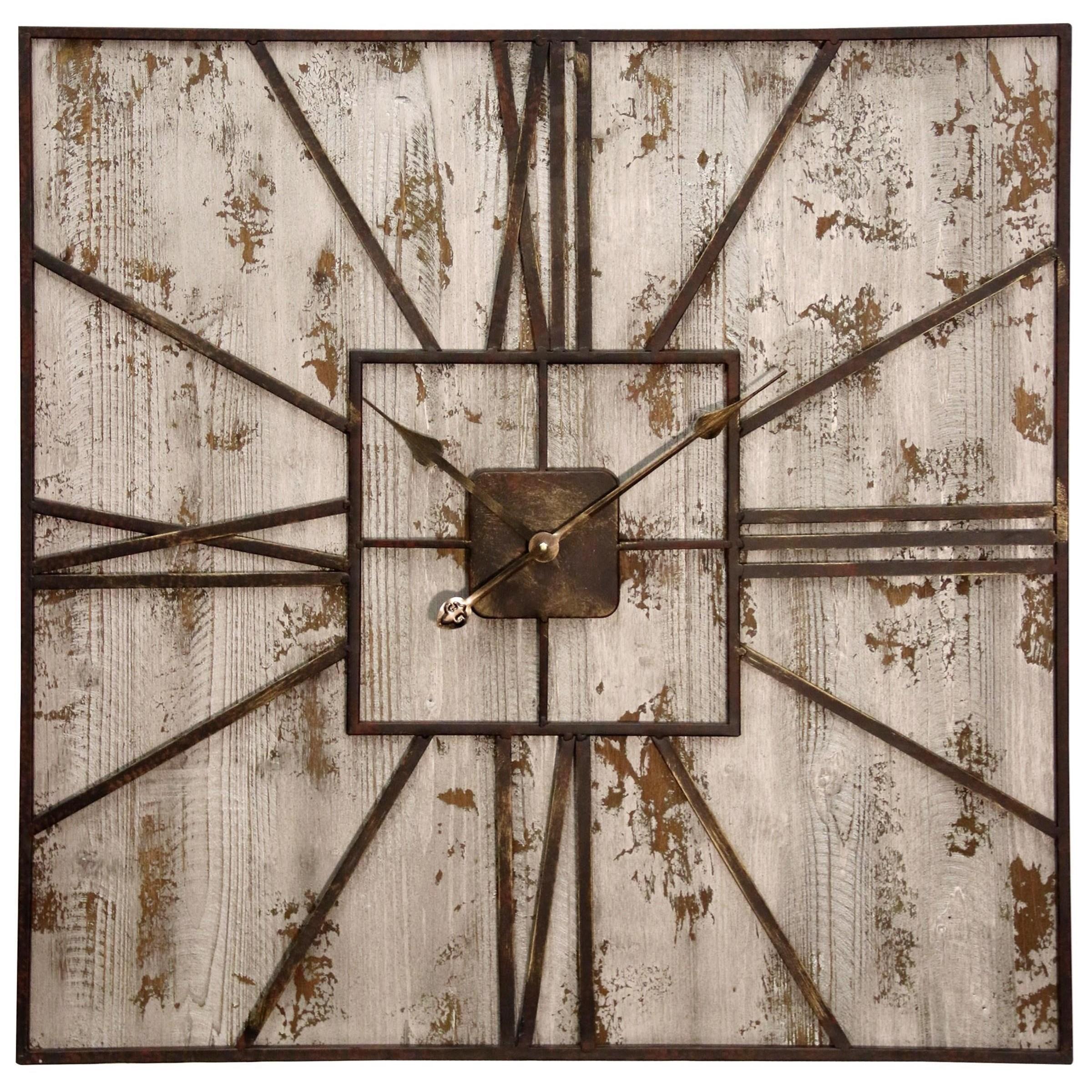 Stylecraft Clocks Rustic Metal And Wood Wall Clock Boulevard Home