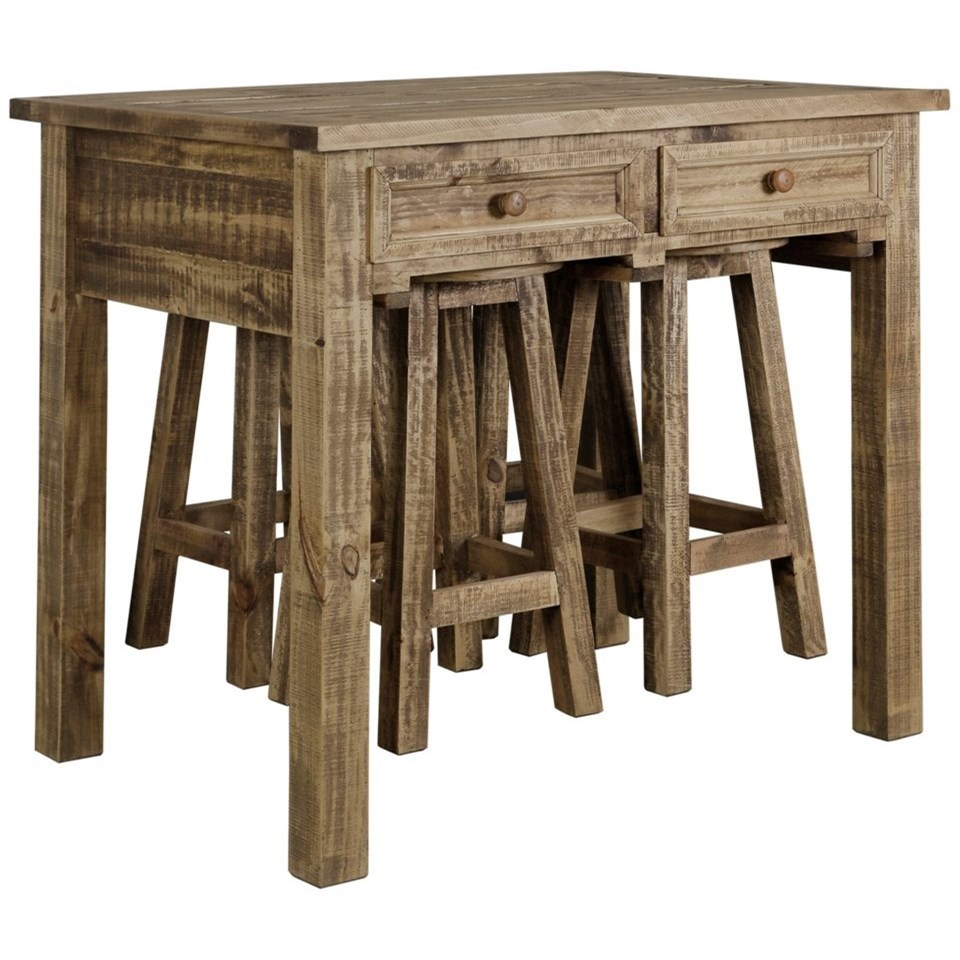 Kitchen Island With 4 Chairs: StyleCraft DM8206 Rustic Kitchen Island With 4 Stools