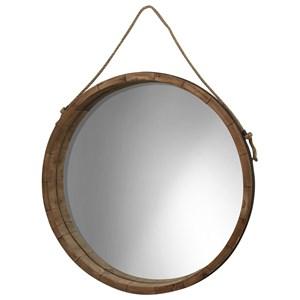 StyleCraft Mirrors Round Wood Barrel Mirror