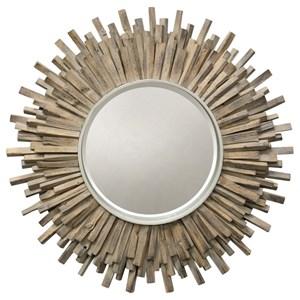 Washed Wood Starburst Mirror
