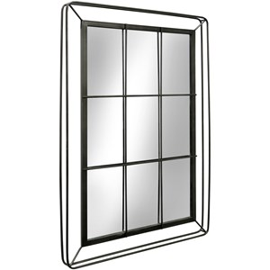 Metal Window Pane Mirror