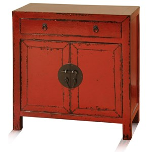 StyleCraft Occasional Cabinets Asian Red Cabinet With Two Doors One Drawer