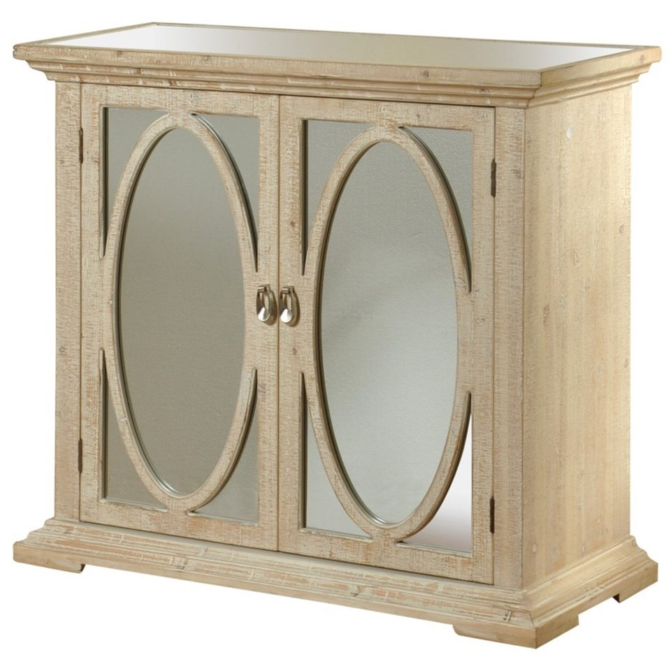 Stylecraft Occasional Cabinets Oval Ring Door Cabinet With Mirrored Gl Insert