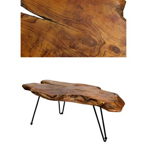 StyleCraft Occasional Tables Badang Carving Natural Teak Coffee Table
