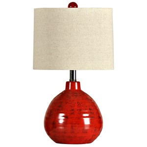StyleCraft Lamps Accent Apple Red Ceramic Table Lamp