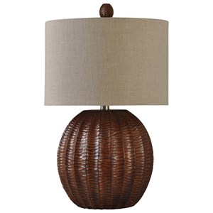 Wood Brown Finish Table Lamp