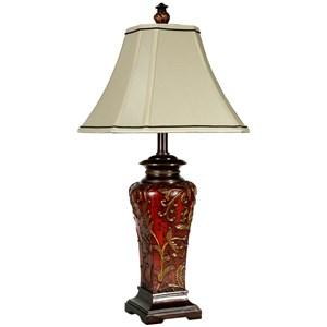 Crimson Floral Zoey Table Lamp