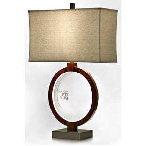 Wood Lamp with LED Inner Ring