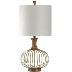 Brass And Wood Barrel Table Lamp
