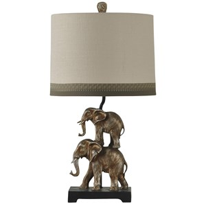 Antique Silver Finish Stacking Elephant Lamp