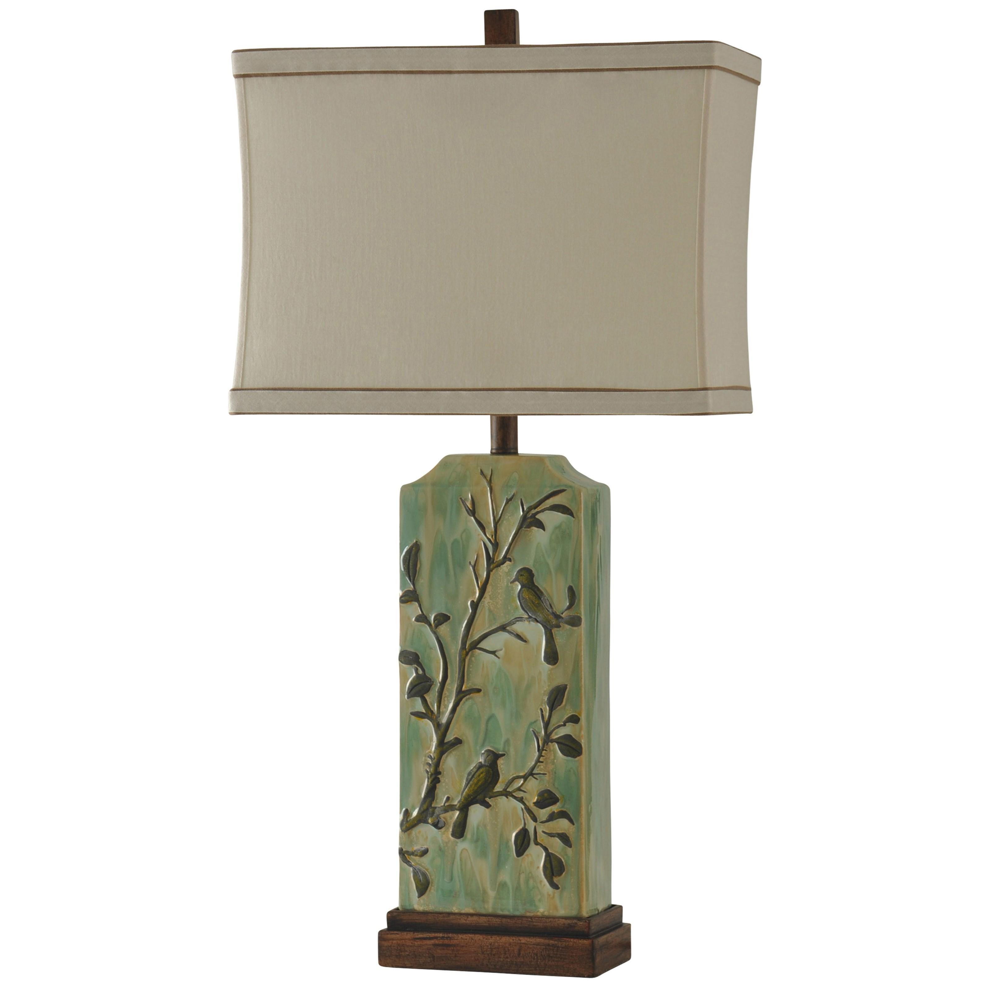 Ceramic Birds On Twigs Lamp