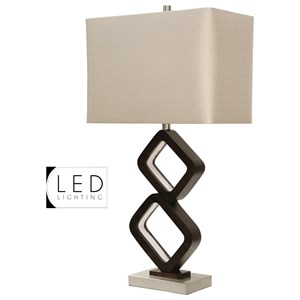 Walnut Ridge & Brushed Steel Table Lamp