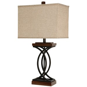 Metal and Wood-Like Table Lamp