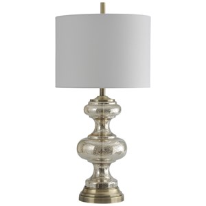Glass and Metal Transitional Table Lamp