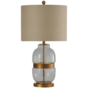 Metal & Glass Base Transitional Table Lamp